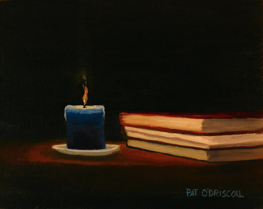 Oil painting still life blue candle and books painting for Candle painting medium