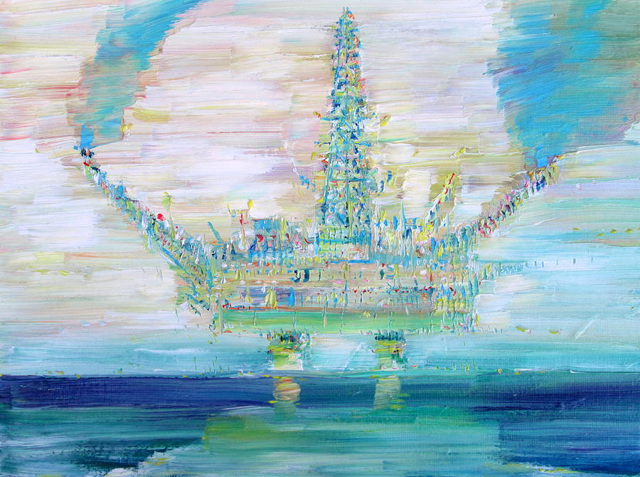 Oil Painting - Oil Platform by Fabrizio Cassetta