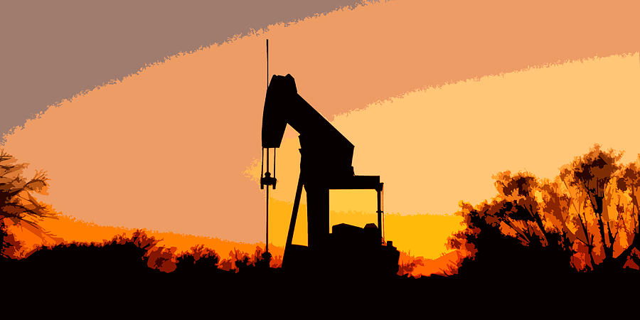 Oil Pump In Sunset Digital Art  - Oil Pump In Sunset Fine Art Print