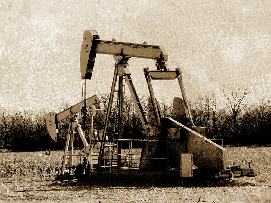 Oil Pump Jack In Sepia Digital Art