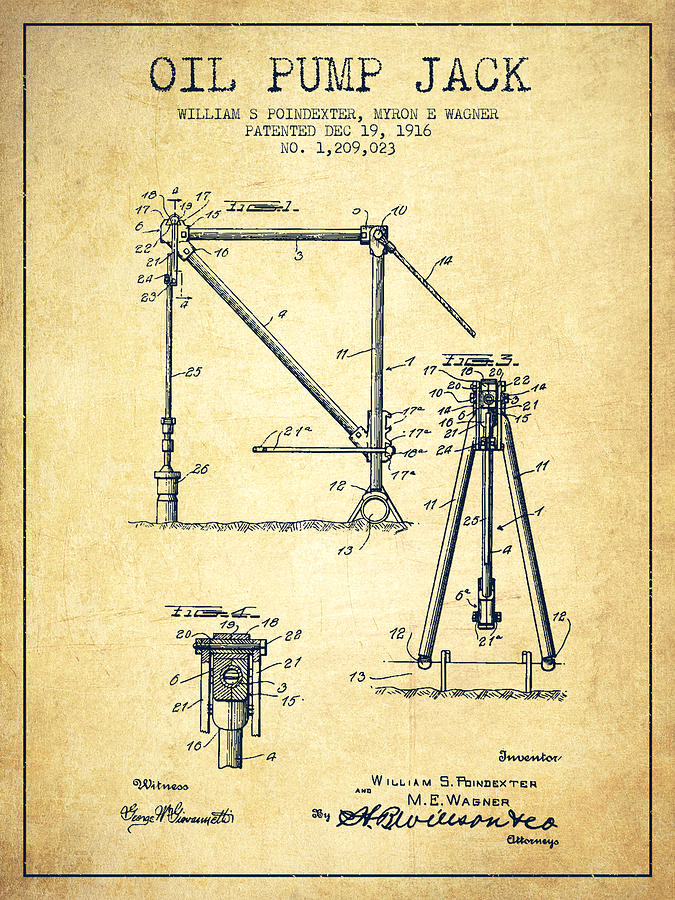 Oil Pump Jack Patent Drawing From 1916 - Vintage Drawing ...  Oil Pump Jack P...
