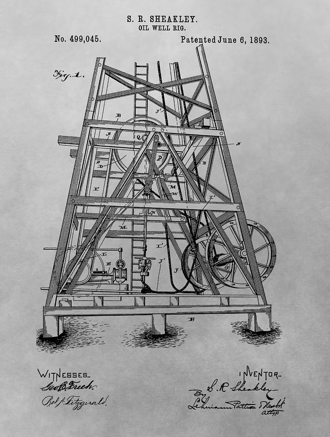 Oil Rig Patent Drawing Drawing by Dan Sproul  Oil Rig Patent ...