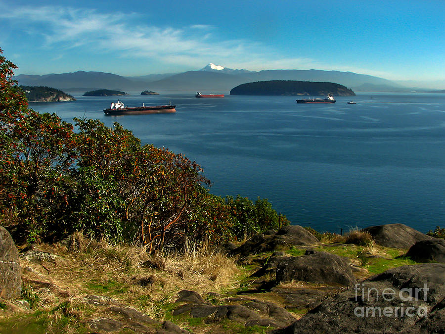 Anacortes Photograph - Oil Tankers Waiting by Robert Bales
