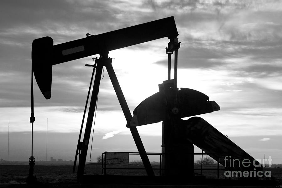Oil Well Pump Jack Black And White Photograph