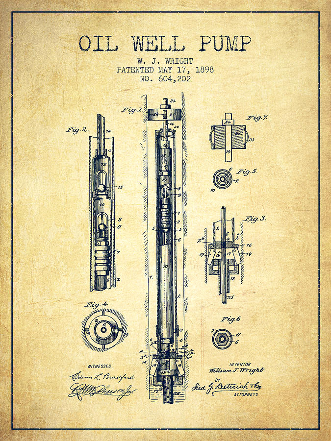 Oil Well Pump Patent From 1898 - Vintage Drawing by Aged Pixel  Oil Well Pump P...