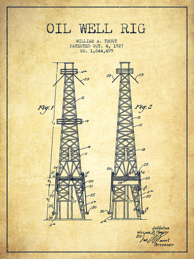 Oil Well Rig Patent From 1927 - Vintage Drawing by Aged Pixel  Oil Well Rig Pa...