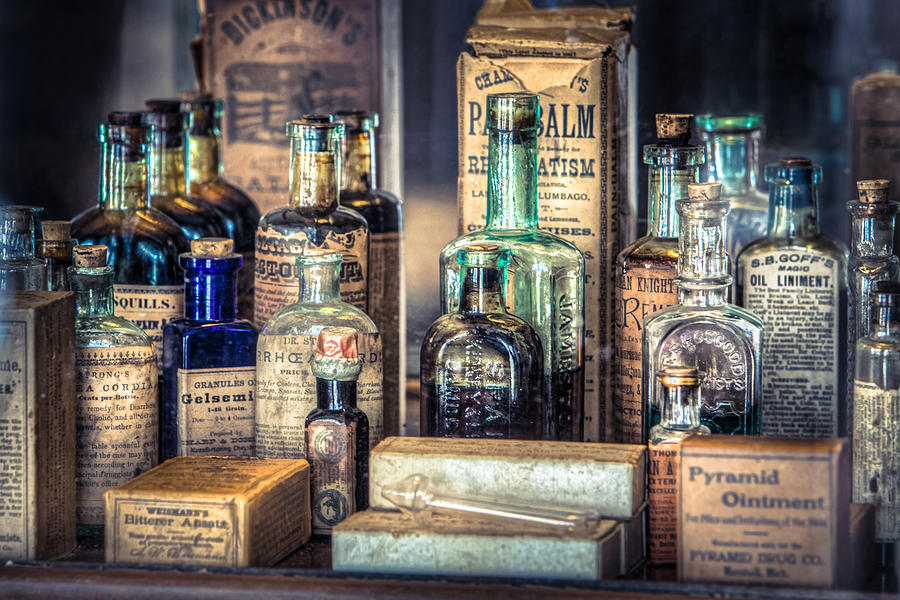 Ointments Tonics And Potions - A 19th Century Apothecary Photograph  - Ointments Tonics And Potions - A 19th Century Apothecary Fine Art Print