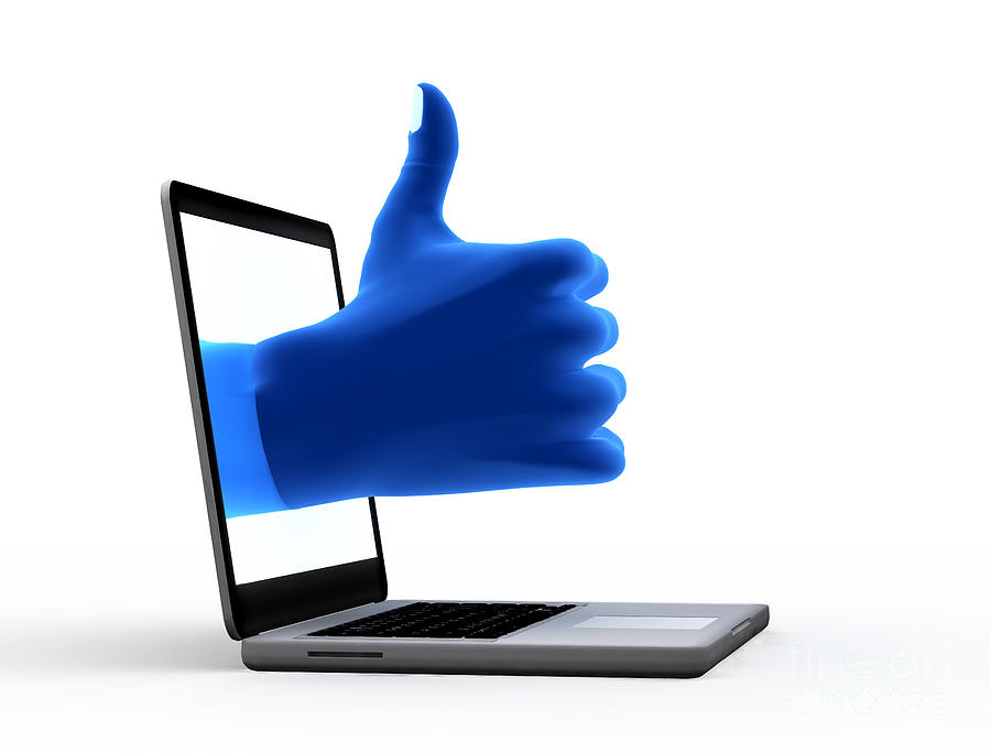Okay Gesture Blue Hand From Screen Digital Art  - Okay Gesture Blue Hand From Screen Fine Art Print
