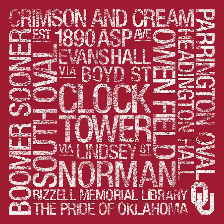 Oklahoma College Colors Subway Art Photograph