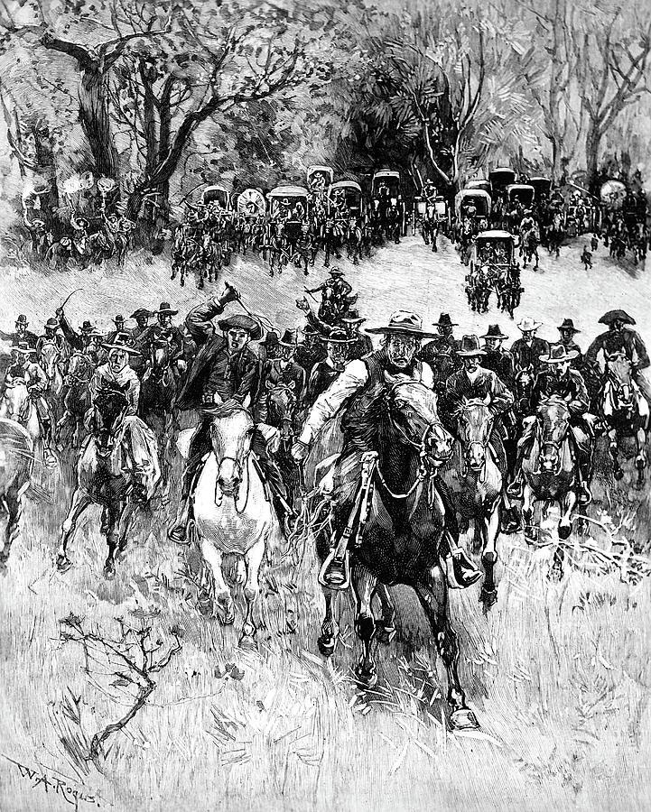 1891 Painting - Oklahoma Land Rush, 1891 by Granger