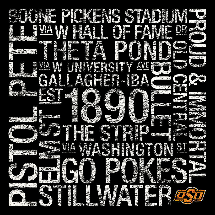 Oklahoma State College Colors Subway Art Photograph