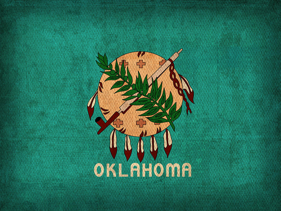 Oklahoma State Flag Art On Worn Canvas Mixed Media