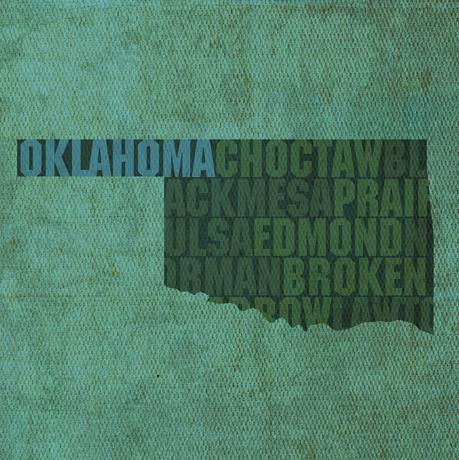 Oklahoma Word Art State Map On Canvas Mixed Media