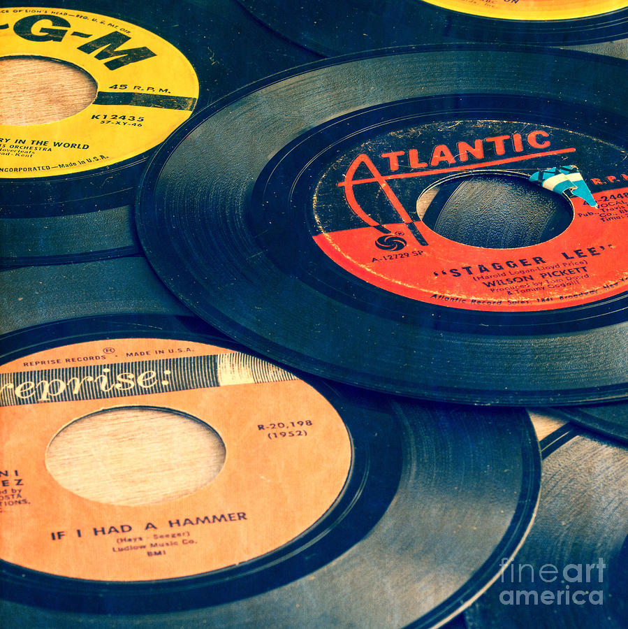 Old 45 Records Square Format Photograph