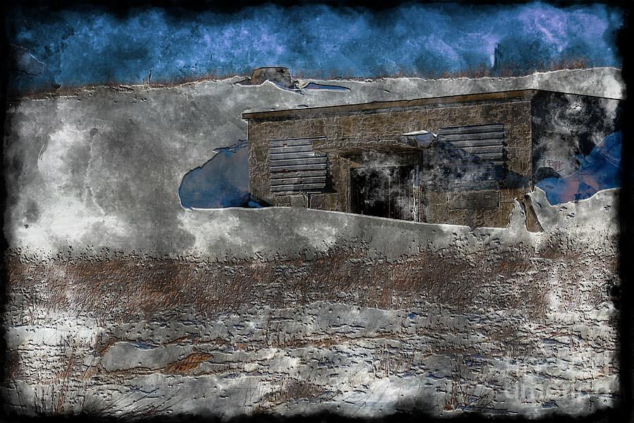 Old Abandonded Shed - Winter - Steel Engraving Digital Art