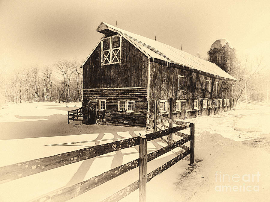 Old American Barn On Snow Covered Land Photograph