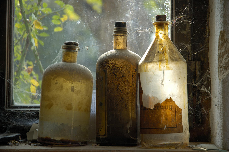 Old And Dusty Glass Bottles Photograph  - Old And Dusty Glass Bottles Fine Art Print