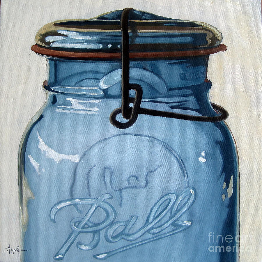 Realism Painting - Old Ball Jar -oil Painting by Linda Apple