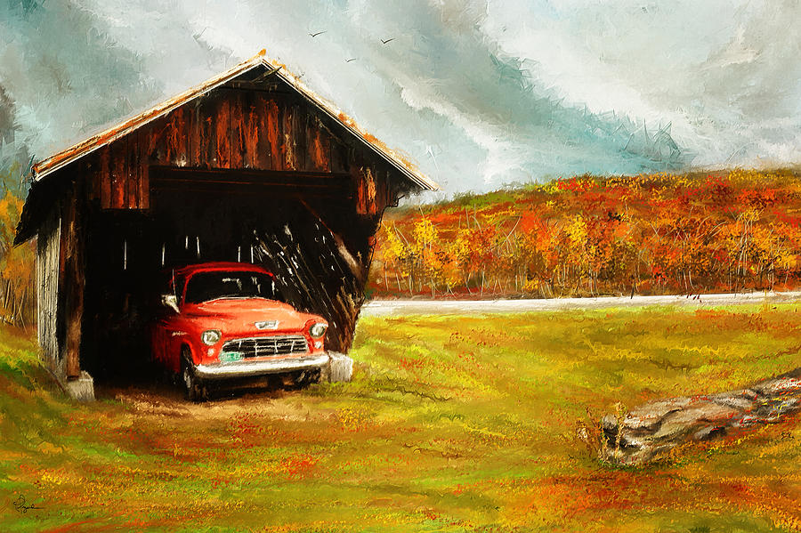 Old Barn And Red Truck Painting by Lourry Legarde