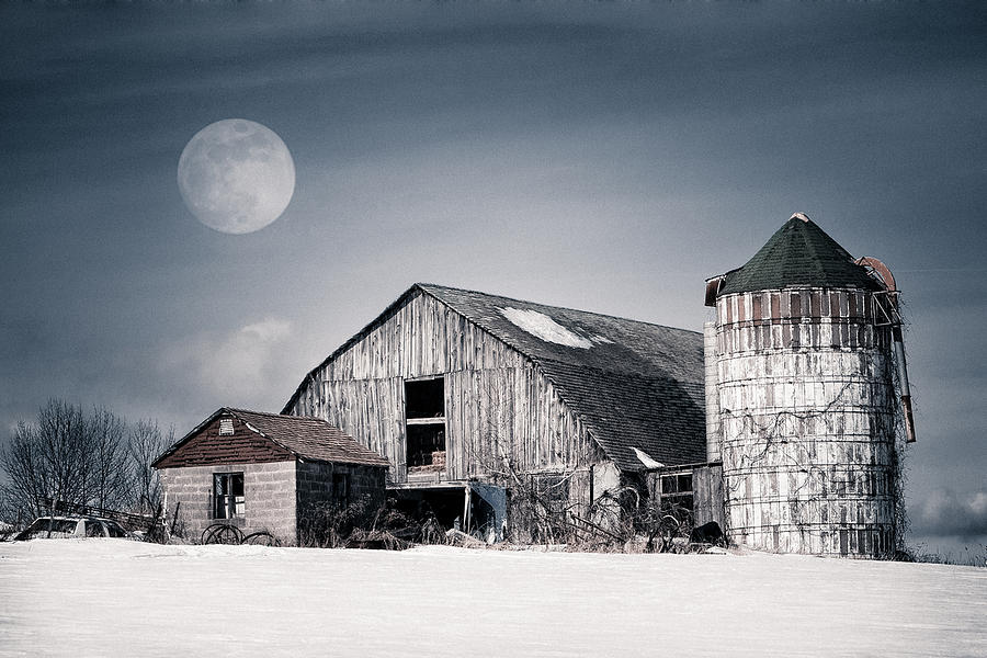 Old Barn And Winter Moon - Snowy Rustic Landscape Photograph  - Old Barn And Winter Moon - Snowy Rustic Landscape Fine Art Print