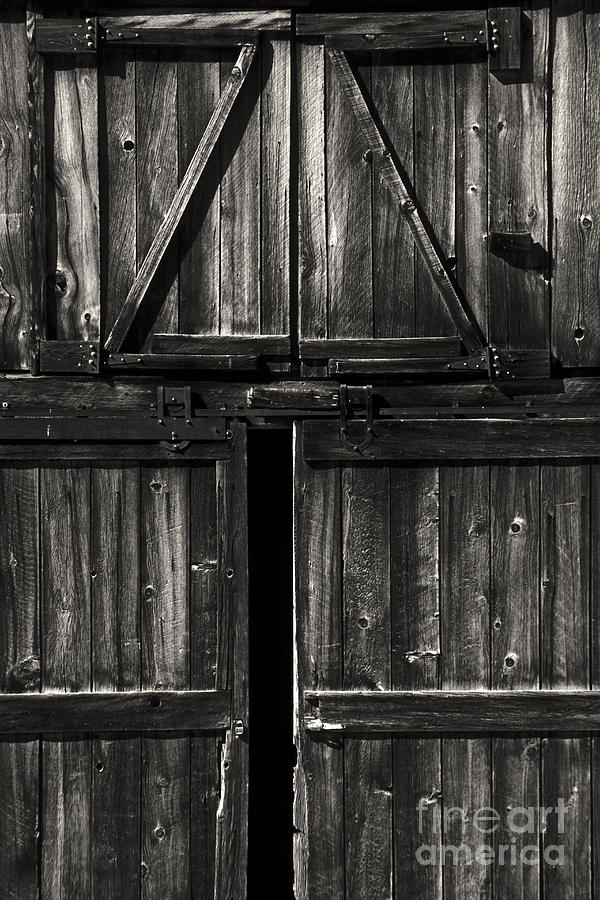 Old Barn Door - Bw Photograph