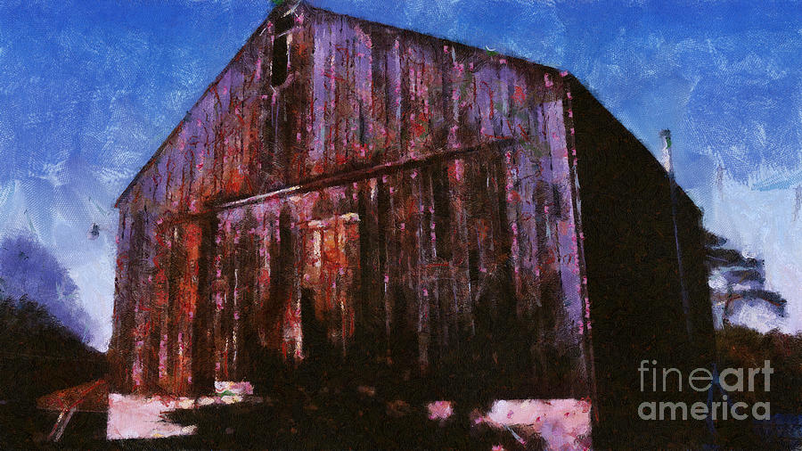 Old Barn In Fall Mixed Media  - Old Barn In Fall Fine Art Print