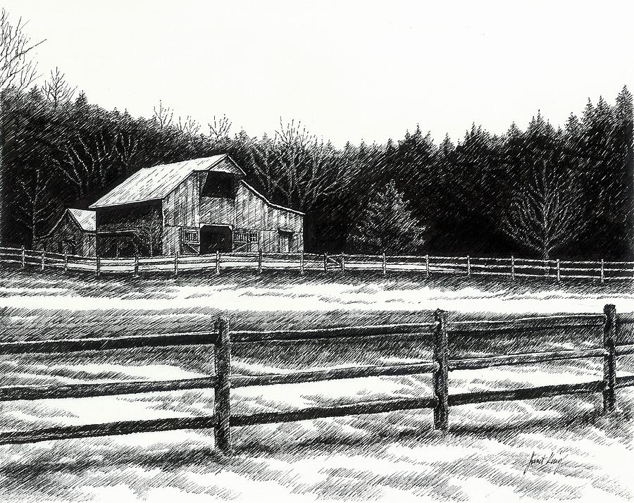 Old Barn In Franklin Tennessee Drawing  - Old Barn In Franklin Tennessee Fine Art Print