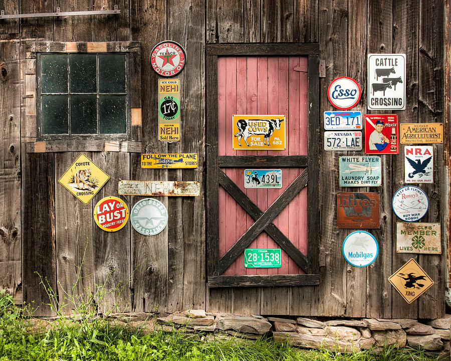 Old Signs Photograph - Old Barn Signs - Door And Window - Shadow Play by Gary Heller