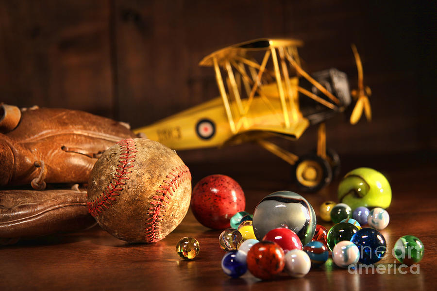 Old Baseball And Glove With Antique Toys Photograph  - Old Baseball And Glove With Antique Toys Fine Art Print