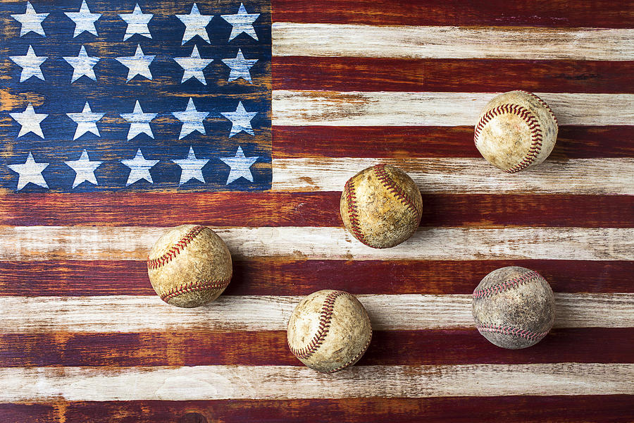 Old Baseballs On Folk Art Flag Photograph  - Old Baseballs On Folk Art Flag Fine Art Print
