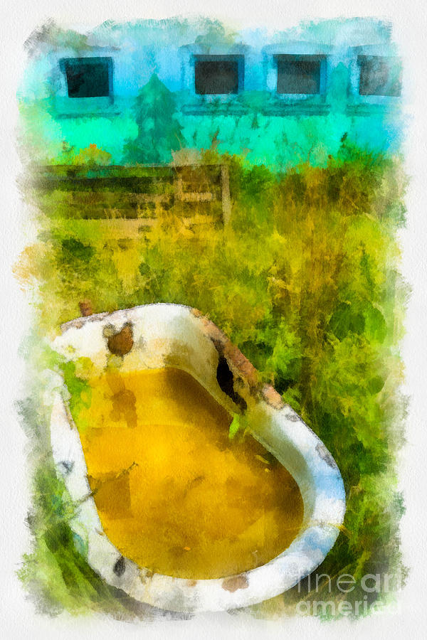 Old Bathtub Near Painted Barn Digital Art
