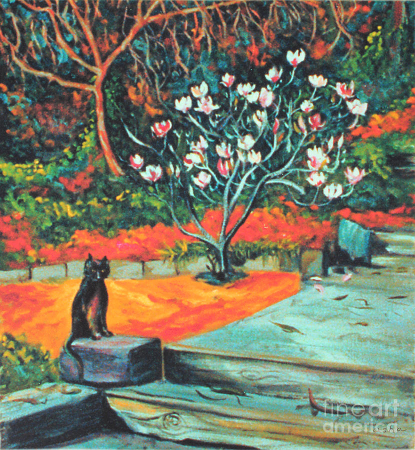 Old Bear Cat And Blooming Magnolia Tree Painting  - Old Bear Cat And Blooming Magnolia Tree Fine Art Print