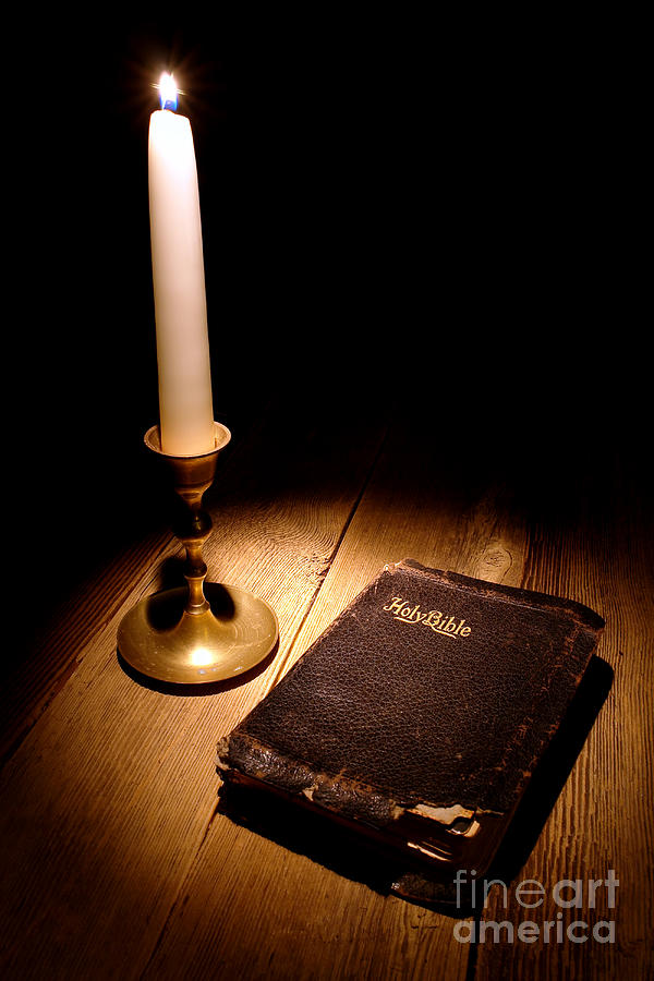 Old Bible And Candle Photograph