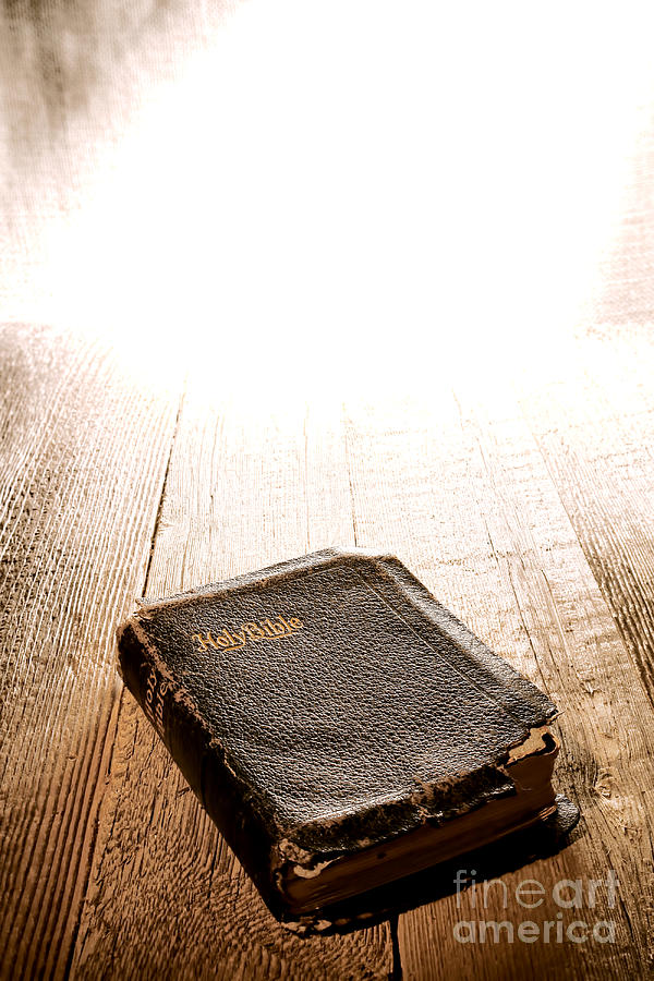 Old Bible In Divine Light Photograph  - Old Bible In Divine Light Fine Art Print