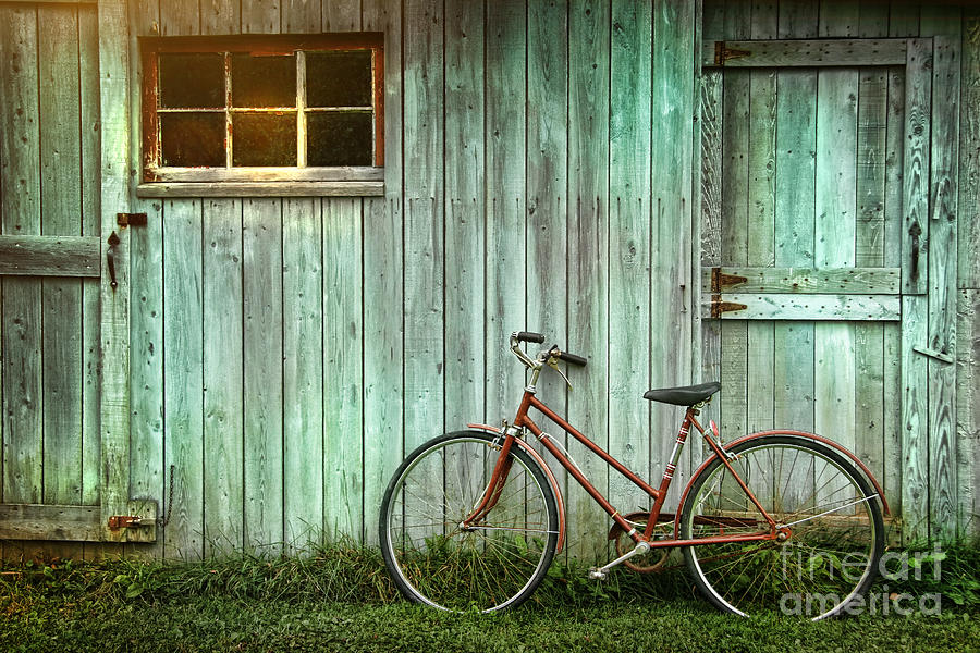 Autumn Photograph - Old Bicycle Leaning Against Grungy Barn by Sandra Cunningham