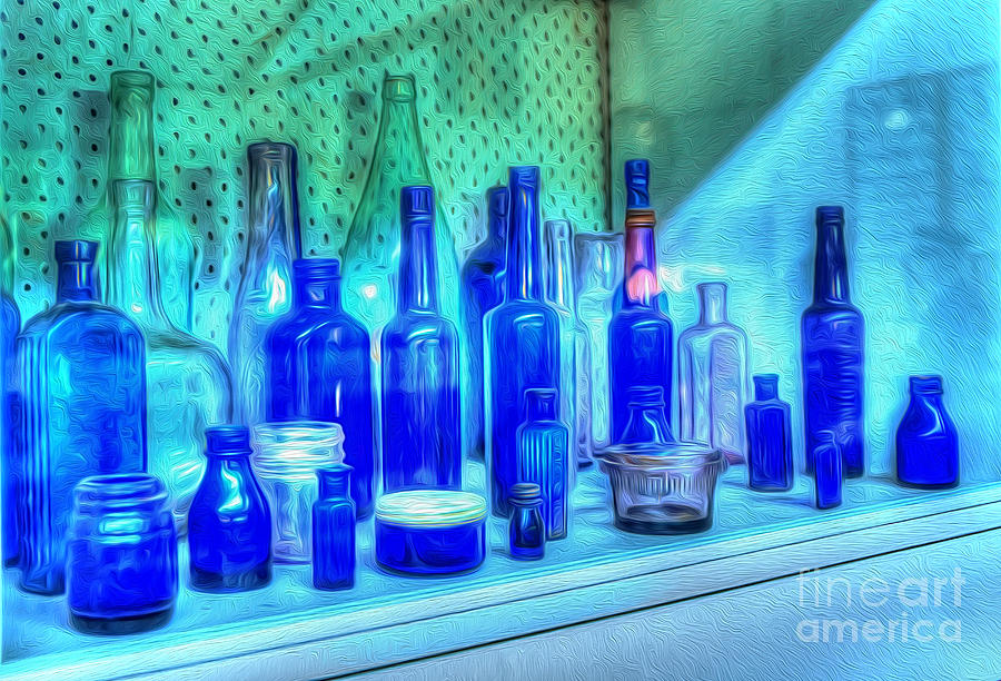 Photography Photograph - Old Blue Bottles by Kaye Menner
