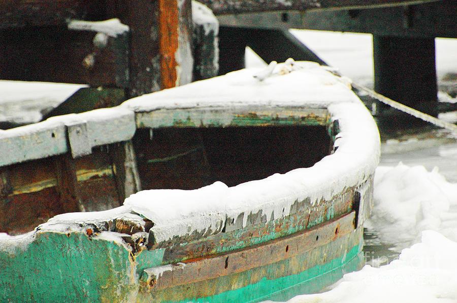 Old Boat In Ice Storm Digital Art