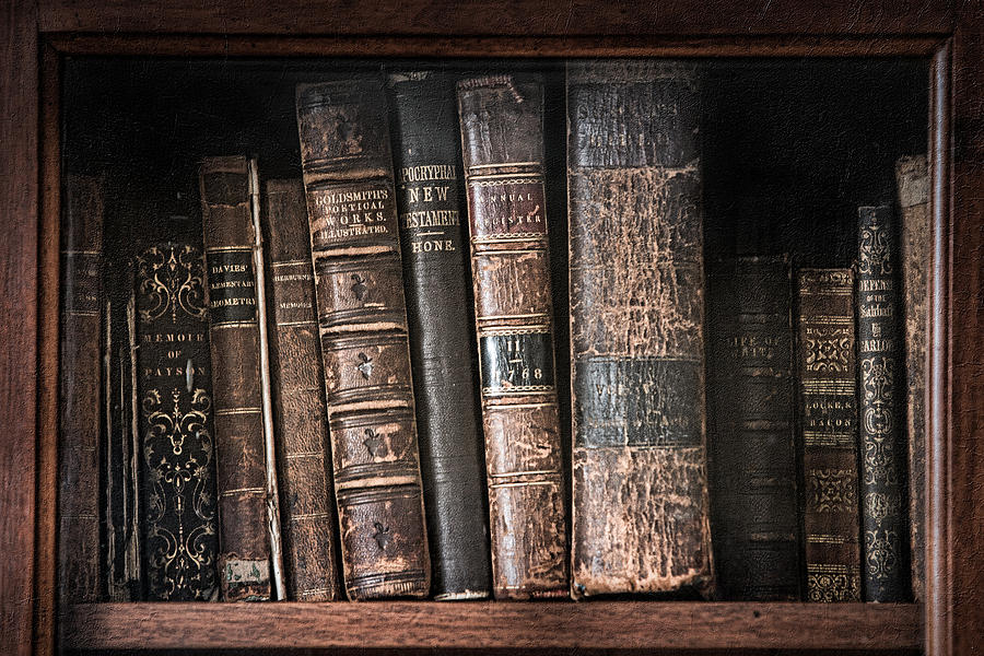 Old Books On The Shelf - 19th Century Library Photograph