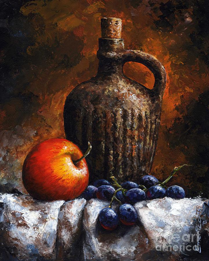 Old Bottle And Fruit Painting