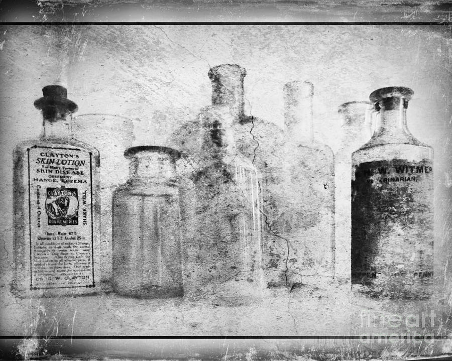Old Bottles With Texture  Bw Photograph