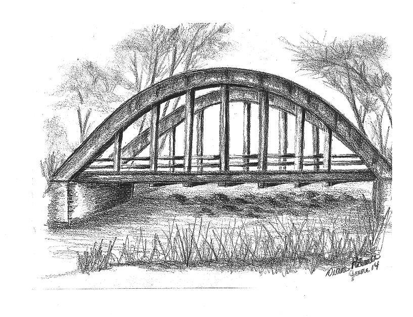 Old Bridge Drawing By Diane Palmer