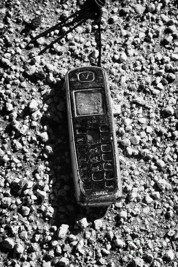 Old Broken Smashed Thrown Away Cheap Cordless Phone Usa Photograph  - Old Broken Smashed Thrown Away Cheap Cordless Phone Usa Fine Art Print