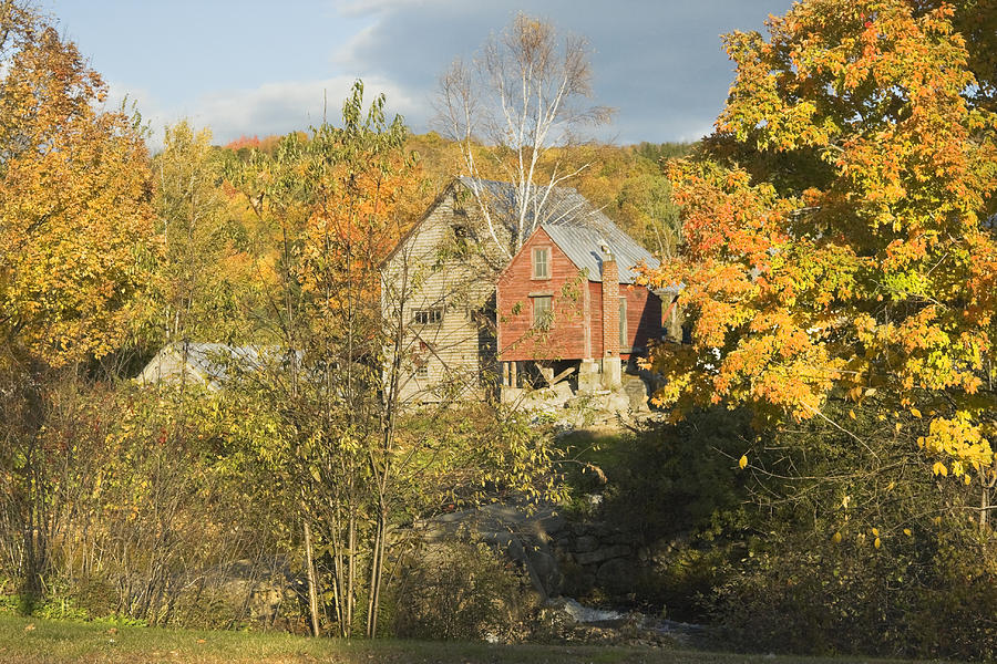 Old Buildings And Fall Colors In Vienna Maine Photograph