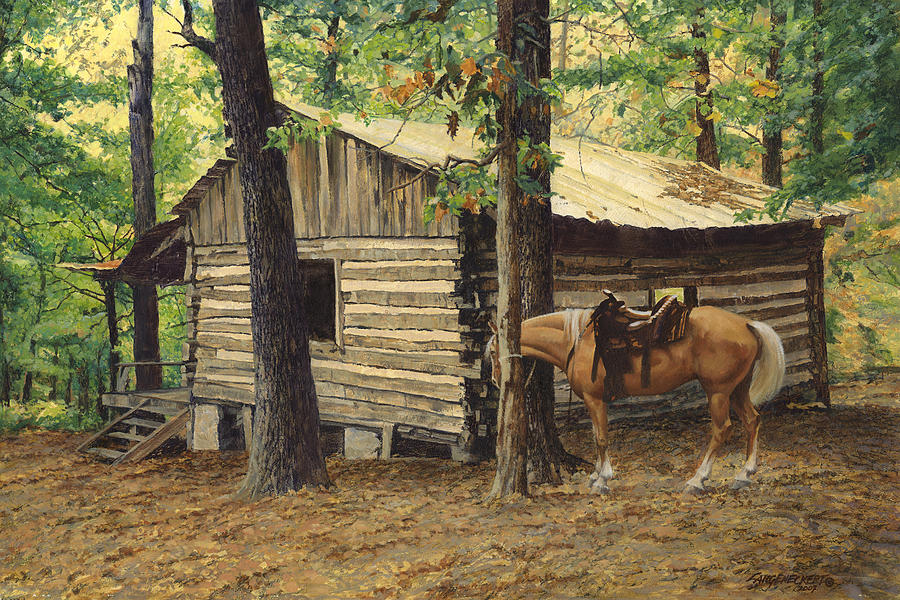Log cabin back view at big creek painting by don for Log cabin painting