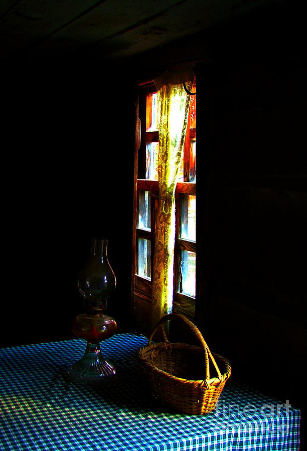 Old Cabin Table With Lamp And Basket Photograph  - Old Cabin Table With Lamp And Basket Fine Art Print