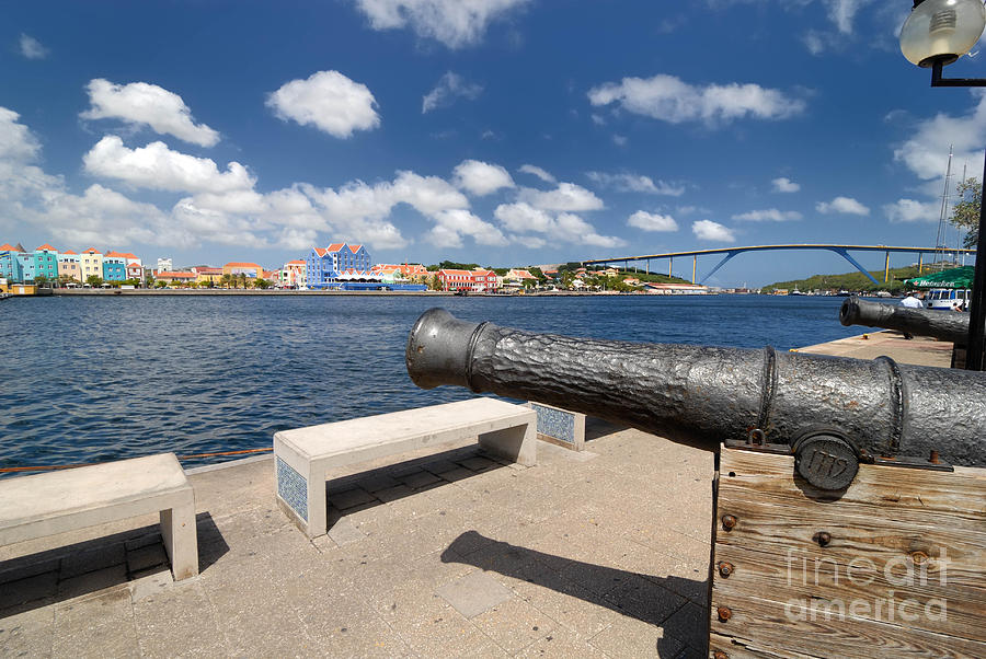 Old Cannon And Queen Juliana Bridge Curacao Photograph