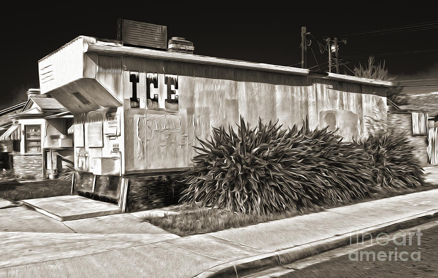 Old Chino Ice House - Sepia Toned Painting  - Old Chino Ice House - Sepia Toned Fine Art Print