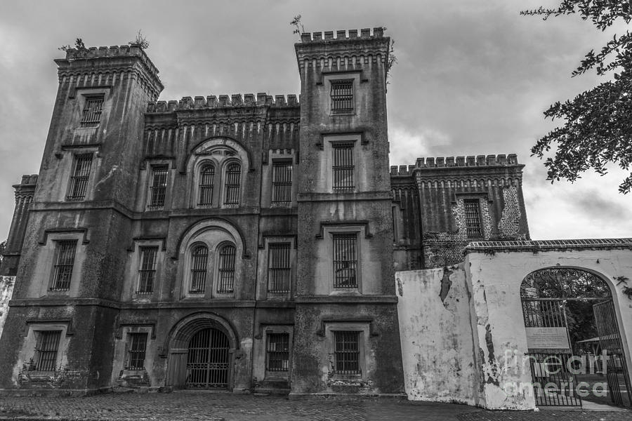 Old City Jail In Black And White Photograph