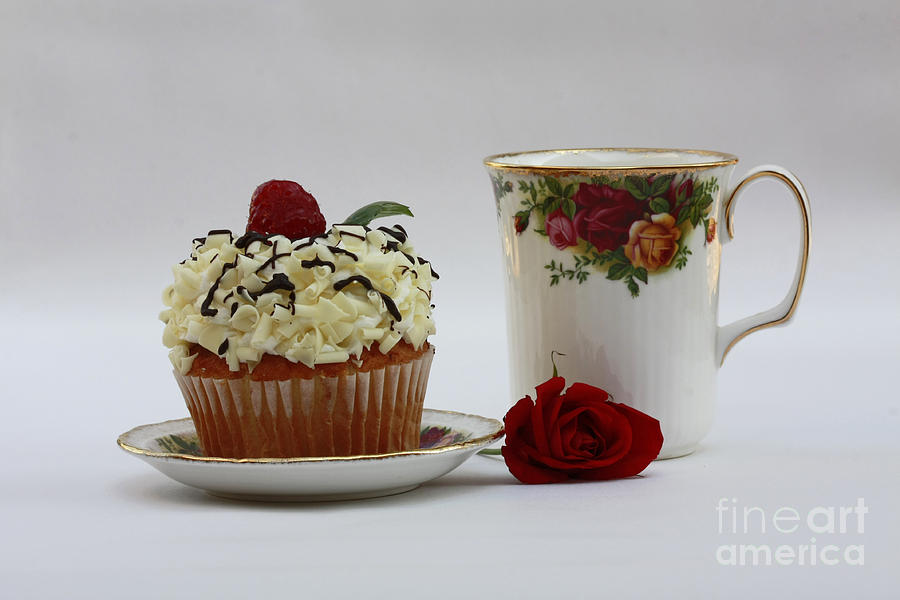Old Country Rose And Raspberry Cupcake Delight Photograph