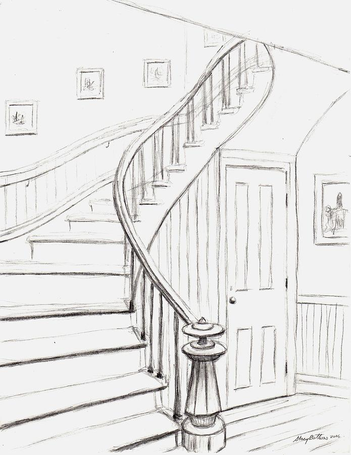 Old Courthouse Stairs Number One Drawing By Stacy C Bottoms